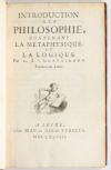 GRAVESANDE (G. J. 'S). Introduction à la philosophie, contenant la métaphysique et la logique. Traduite du Latin.