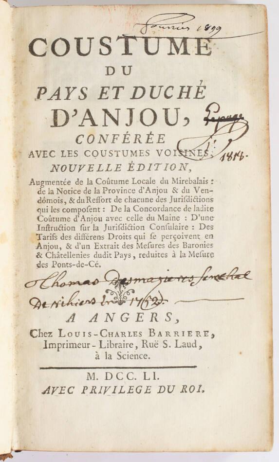 Durson - Coutume du pays et duché d Anjou - Angers, 1751 - Photo 0, livre ancien du XVIIIe siècle