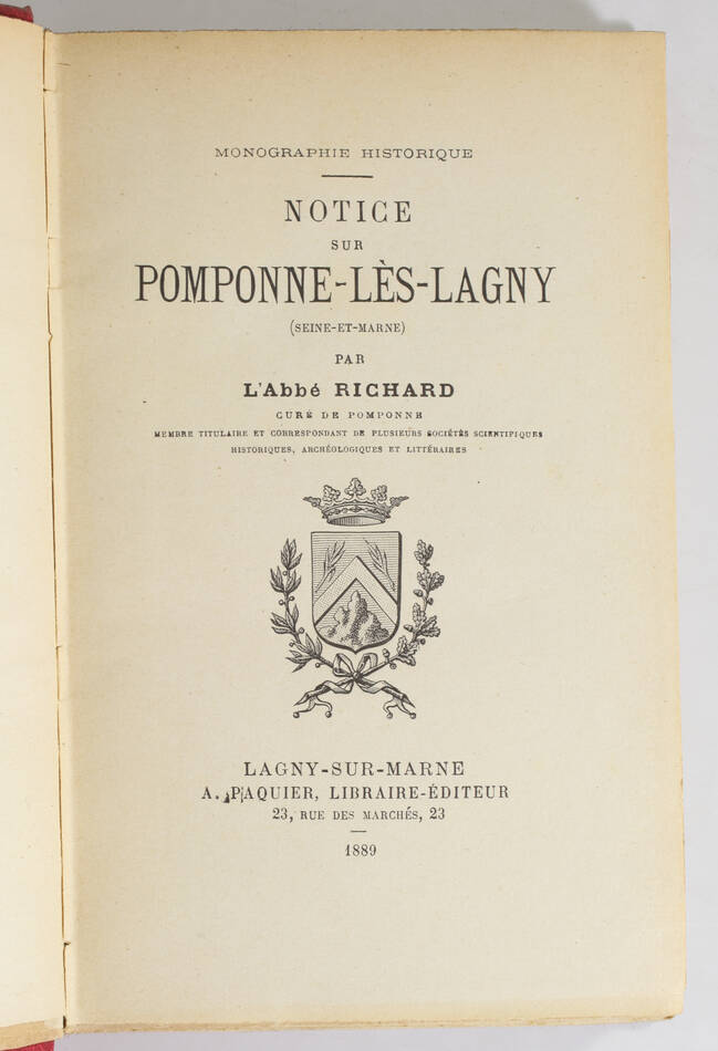 [Brie] RICHARD Notice sur Pomponne-lès-Lagny (Seine et Marne) - 1889 - Photo 1, livre rare du XIXe siècle