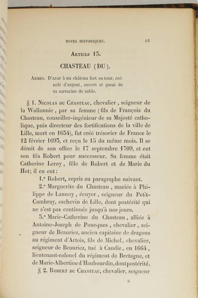 Du CHAMBGE de L. - Offices et officiers du bureau des finances de Lille - 1855 - Photo 5, livre rare du XIXe siècle