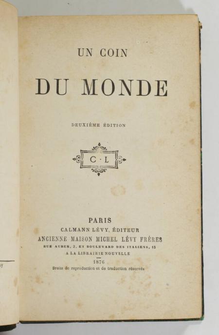 [PISCATORY (Mme)]. Un coin du monde, livre rare du XIXe siècle