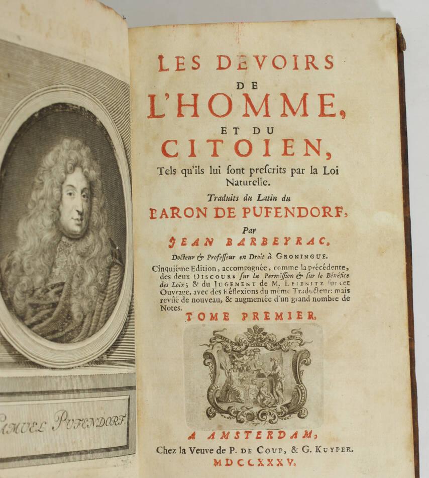 PUFENDORF - Les devoirs de l homme et du citoyen - 1735 - Portrait - 2 volumes - Photo 1, livre ancien du XVIIIe siècle
