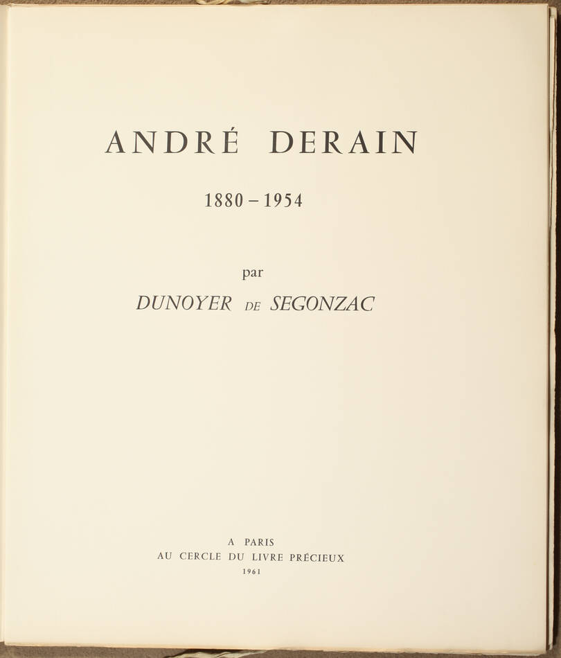 André Derain 1880-1954, par Dunoyer de Segonzac - 1961 - 10 planches - Photo 2, livre rare du XXe siècle