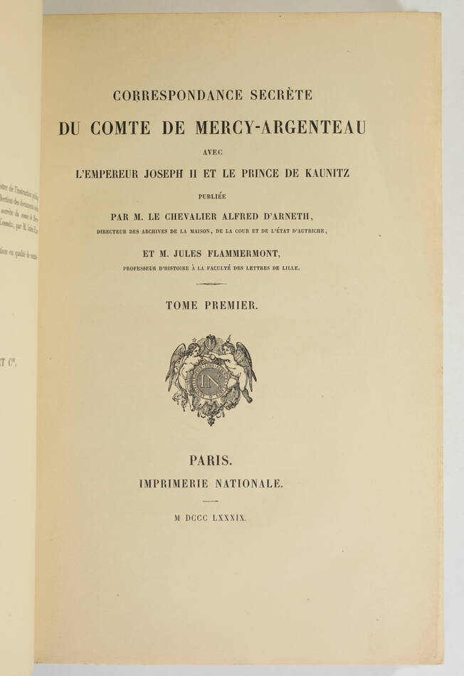 Correspondance secrète du Cte de Mercy-Argenteau avec Joseph II -  1889 - 2 vols - Photo 1, livre rare du XIXe siècle