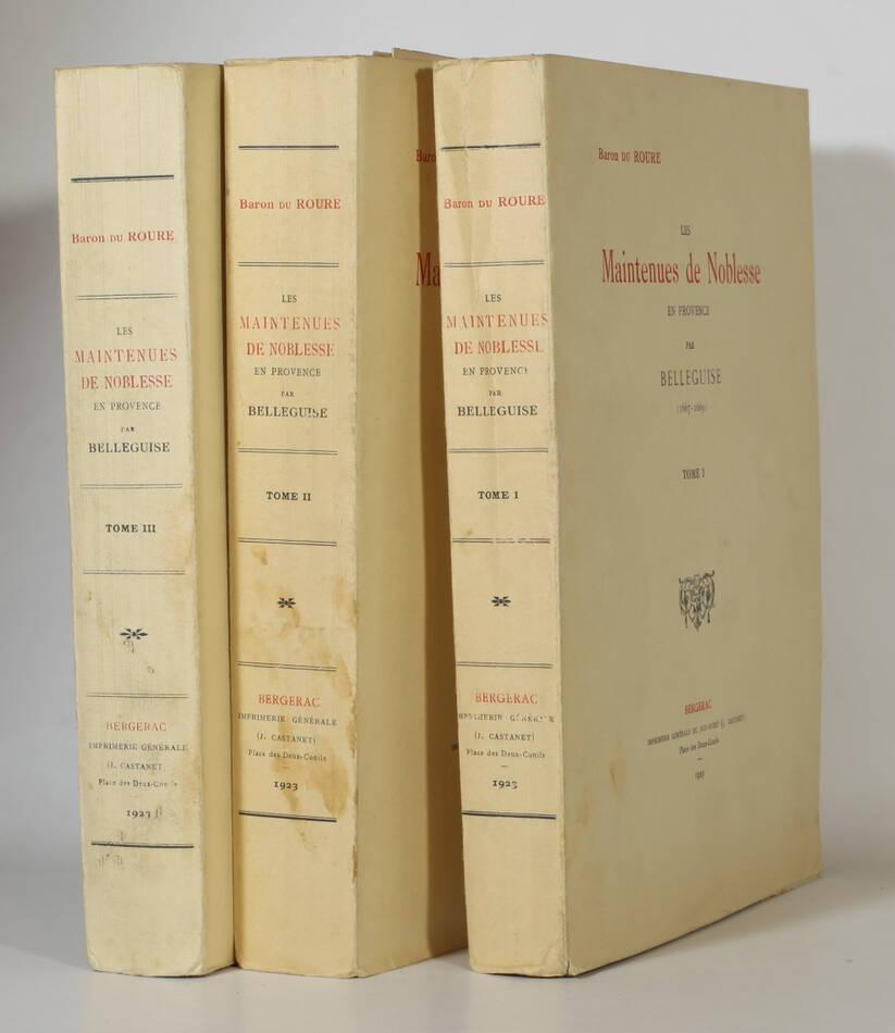 ROURE - Maintenues de noblesse en Provence par Belleguise (1667-1669) 3 vols - Photo 0, livre rare du XXe siècle