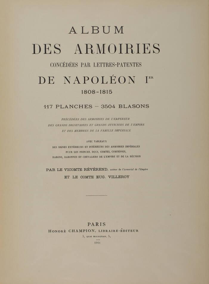 REVEREND et VILLEROY - Armorial du premier empire - Album des armoiries - 1911 - Photo 2, livre rare du XXe siècle