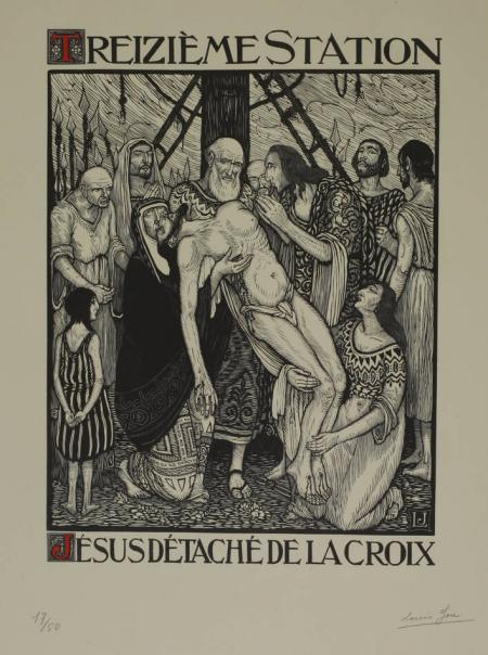 JOU (Louis). Le Chemin de la Croix. Quinze planches de bois, dessinées et gravées par l'artisan xylographe Louis Jou, livre rare du XXe siècle