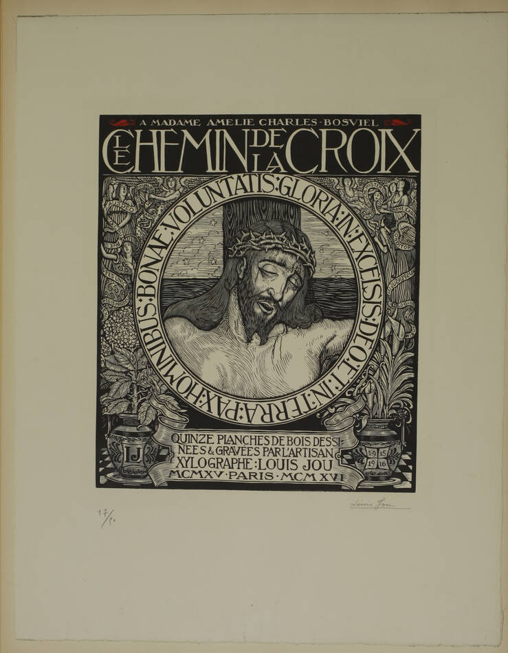 JOU - Le Chemin de la Croix 1915-1916 - 15 planches - bois gravés - Grand format - Photo 3, livre rare du XXe siècle