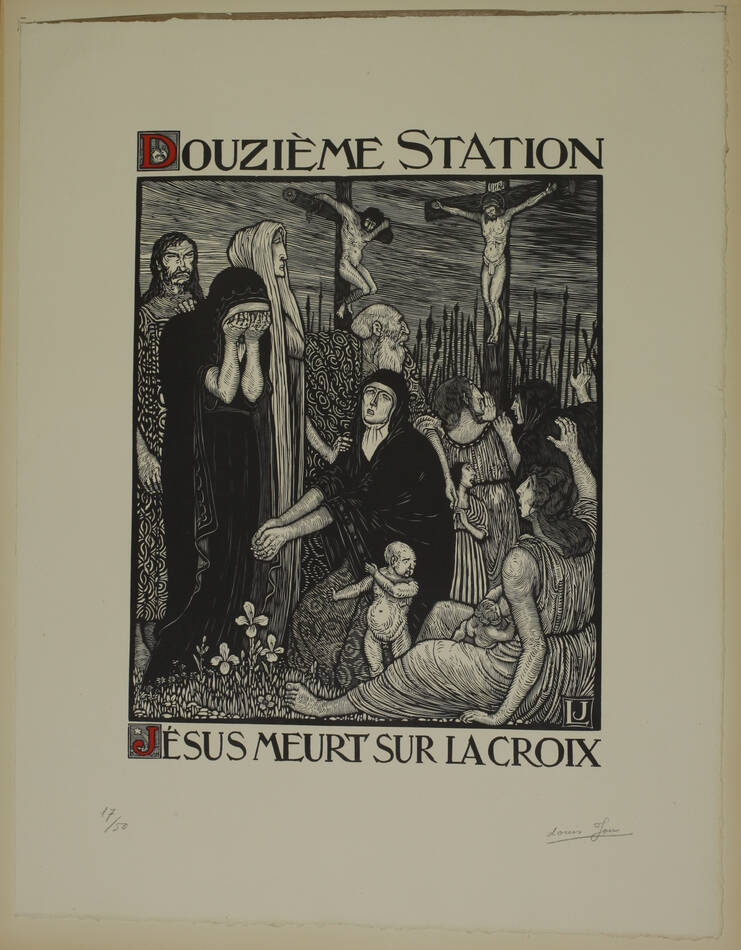 JOU - Le Chemin de la Croix 1915-1916 - 15 planches - bois gravés - Grand format - Photo 6, livre rare du XXe siècle
