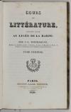 BOUCHARLAT - Cours de littérature faisant suite au Lycée de La Harpe - 1826 - 2v - Photo 1, livre rare du XIXe siècle