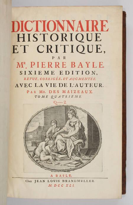 BAYLE - Dictionnaire historique et critique -  1741 - 4 volumes in-folio - Photo 2, livre ancien du XVIIIe siècle
