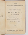 SABATIER - Médecine opératoire ou opérations de chirurgie - 1796 - 3vols - Photo 1, livre ancien du XVIIIe siècle