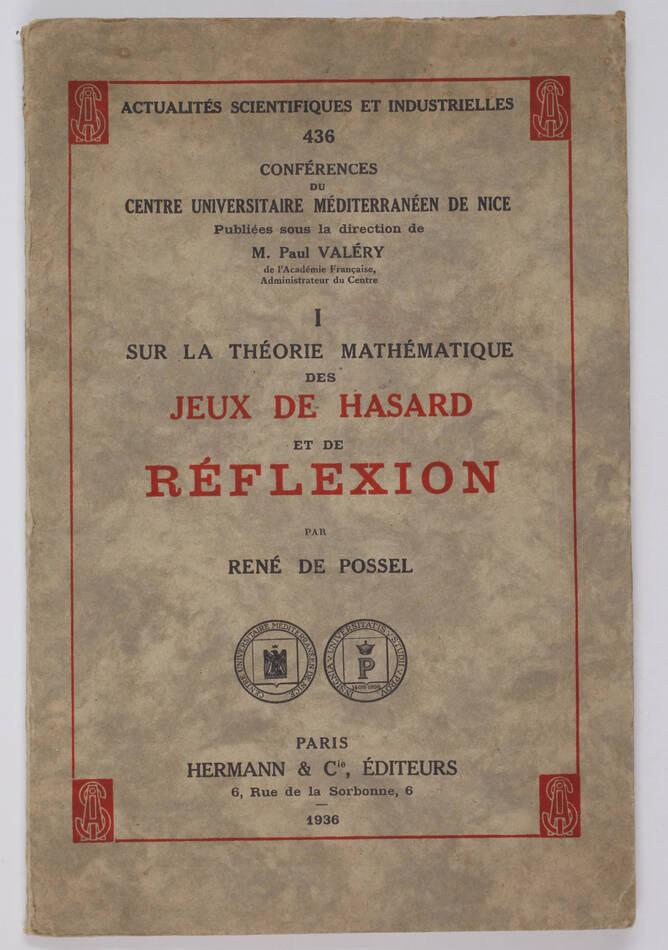 POSSEL Théorie mathématique des jeux de hasard réflexion 1936 -  Valéry - Photo 0, livre rare du XXe siècle