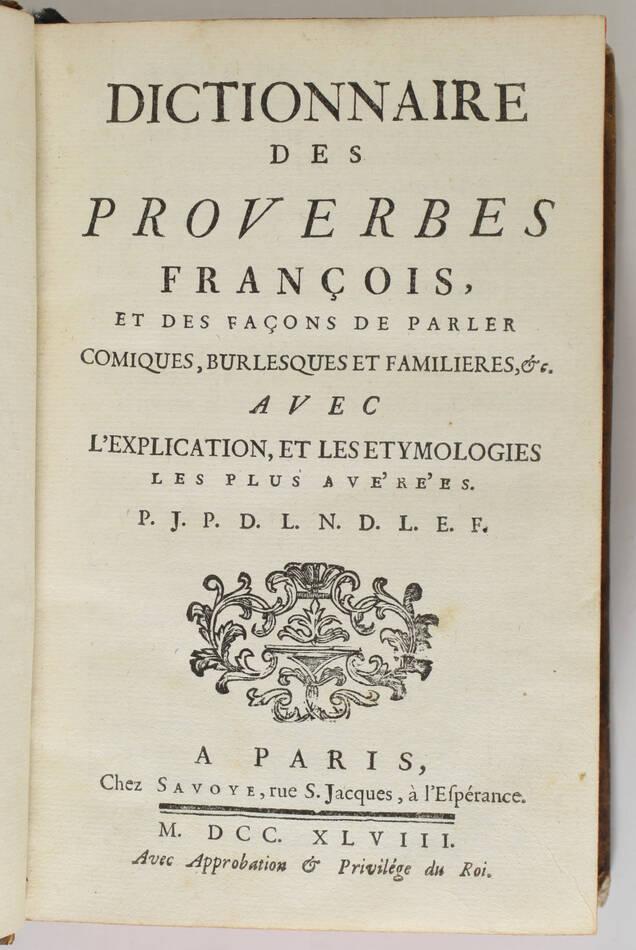 Panckoucke - Dictionnaire des proverbes et des façons de parler comiques -  1748 - Photo 1, livre ancien du XVIIIe siècle