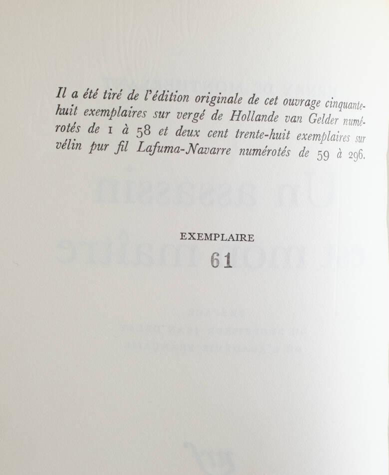 MONTHERLANT - Un assassin est mon maître - 1971 - EO - 1/238 Lafuma-Navarre - Photo 0, livre rare du XXe siècle