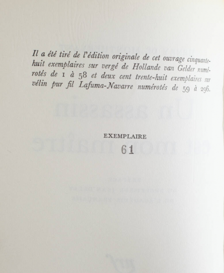 MONTHERLANT (Henry de). Un assassin est mon maître, livre rare du XXe siècle