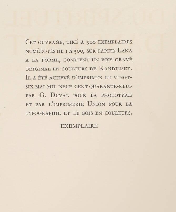 KANDINSKY - Du spirituel dans l art - 1949 - Grand bois gravé en couleurs - Photo 4, livre rare du XXe siècle