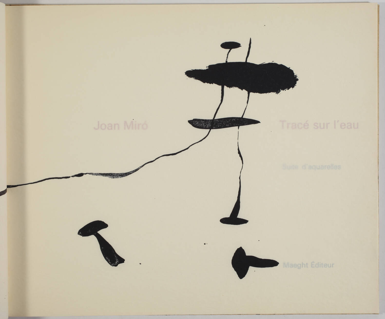 MIRO -  Tracé sur l eau - Suite d aquarelles - 1963 - Couverture lithographiée - Photo 2, livre rare du XXe siècle