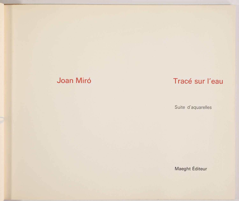 MIRO -  Tracé sur l eau - Suite d aquarelles - 1963 - Couverture lithographiée - Photo 3, livre rare du XXe siècle