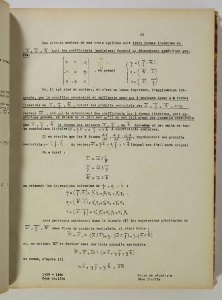 JULIA (Gaston). Cours de géométrie. Ecole Polytechnique, 2e division. 1939-1940, livre rare du XXe siècle
