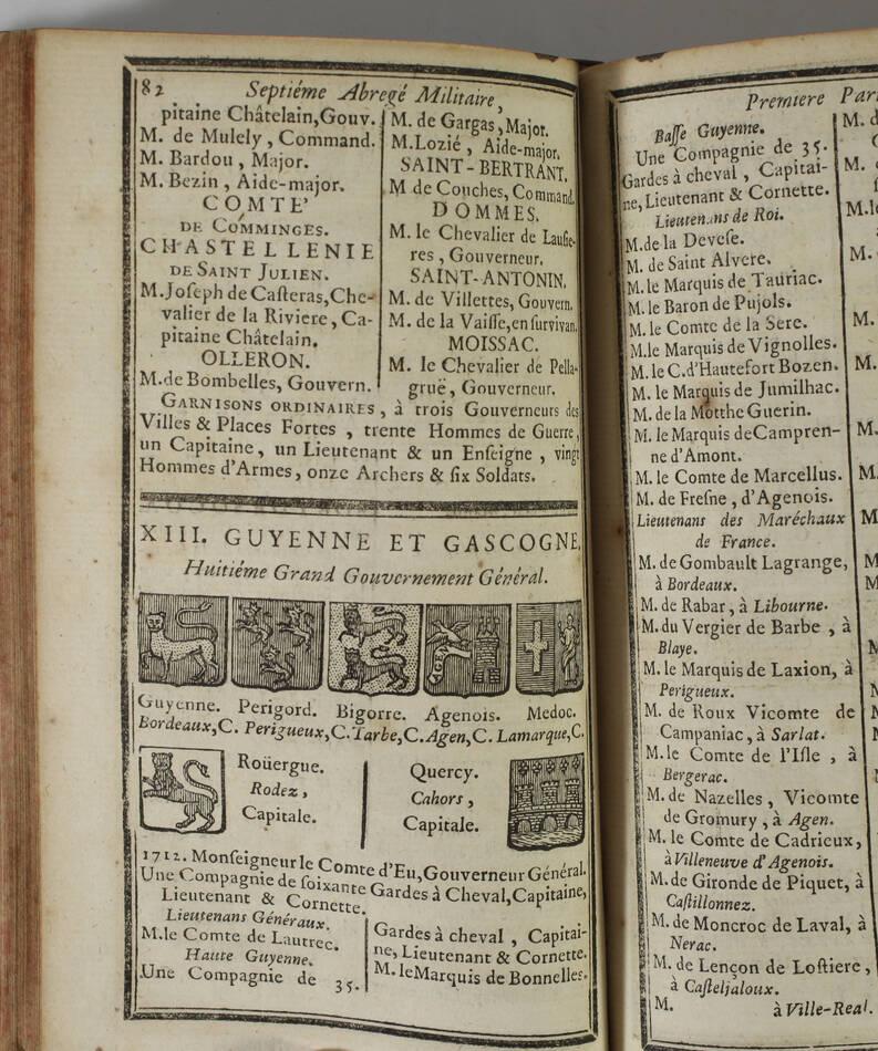 LEMAU de la JAISSE - 7e abrégé de la carte générale du militaire de France 1741 - Photo 4, livre ancien du XVIIIe siècle
