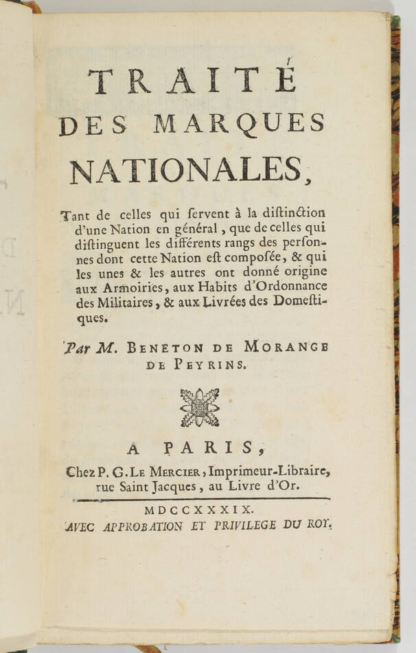 Traité des marques nationales - 1739 - Armoiries, habits et livrées - Photo 0, livre ancien du XVIIIe siècle
