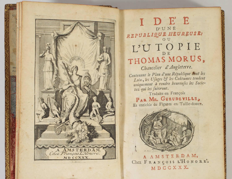 Thomas MORE - Idée d une république heureuse, ou l utopie - 1730 - Gravures - Photo 1, livre ancien du XVIIIe siècle