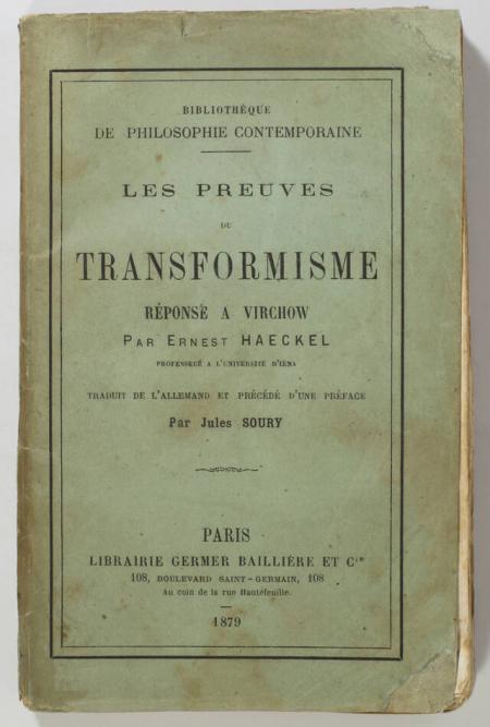 HAECKEL (Ernest). Les preuves du transformisme. Réponse à Virchow, livre rare du XIXe siècle